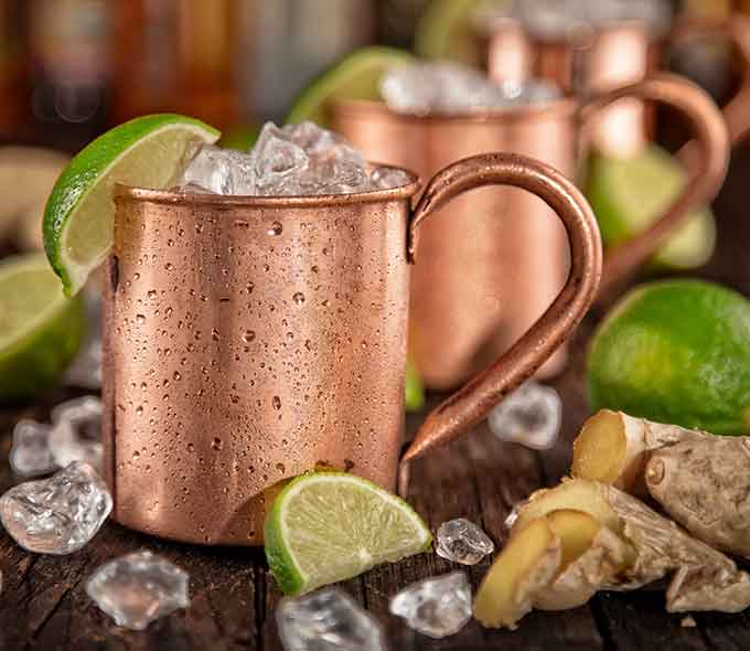 Moscow mules with lime at Tony Locos